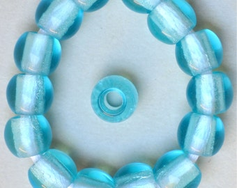 12mm Round Czech Glass Beads with Large Hole - Red, Aqua, Teal or Cobalt - Qty 10
