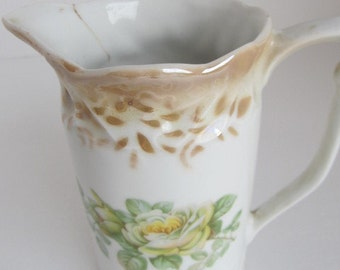 GERMANY Yellow Rose Lustreware pitcher
