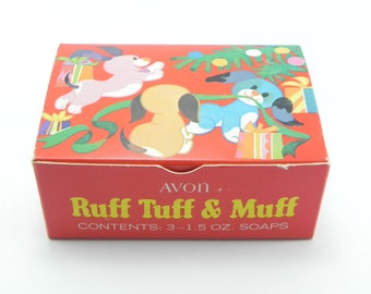 FREE SHIPPING Avon Collectible Ruff Tuff and Muff Soap Set Vintage Avon 1968 Red Yellow Blue Puppies Vintage Deadstock Avon NOS ItemAW222