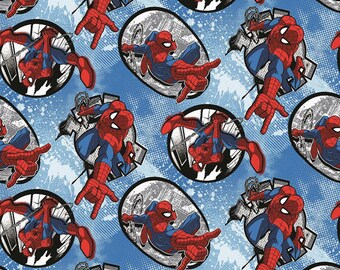 Spiderman Badge Marvel Comics Fabric From Springs Creative Sold by the Yard