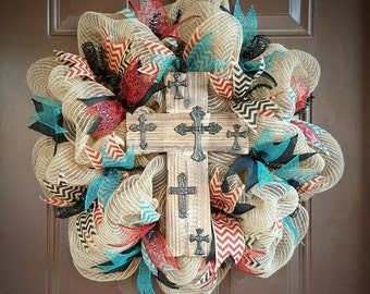 Cross Burlap Mesh Wreath with lots of ribbon accents