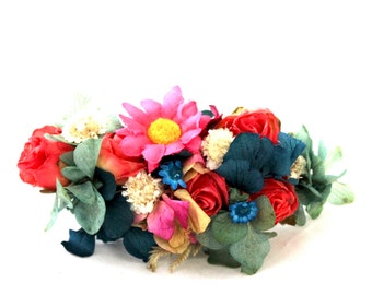 Flower,barrette,pink,aisy,hydrangea,blue,green,clip,flower comb, orange,yellow,boho,wild,preserved,dried,flower