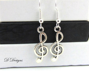 Treble Clef Earrings, Musical Note Earrings, Sterling Silver Earrings, Novelty Earrings, Music Earrings, Gifts for her, Earwire earrings