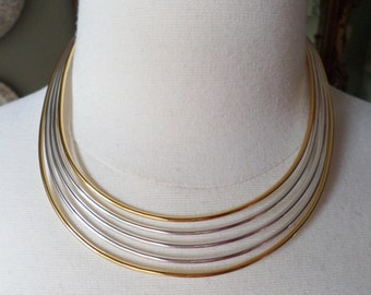 Vintage Fashion Silver and Gold Tones Rigid Choker Necklace.