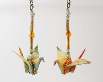 """Ochre"" origami earrings"