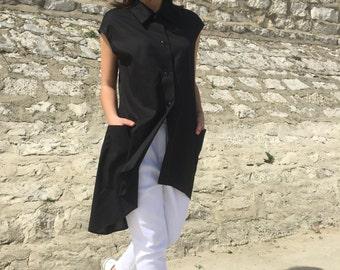 Long Black Shirt, Sleeveless Top, Asymmetric Top, High Low Top, Black Tunic, Black Cotton Shirt, Summer Tunic Top, Maxi Top