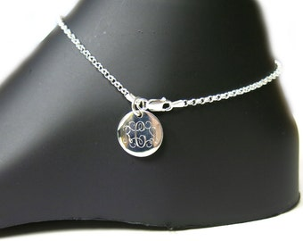 Monogrammed 925 Sterling Silver Rolo Chain Personalized Anklet