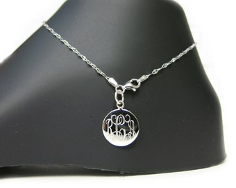 Monogrammed 925 Sterling Silver Delicate Coffee Chain Personalized Anklet