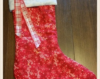 Christmas Red Flannel Stocking with snowflake trim