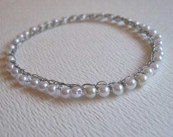 Pearl Beaded Slip On Bracelet, Ladies Medium, Crocheted Artistic Wire, Bangle