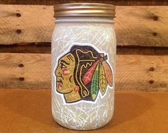 Chicago Blackhawks Mason Jar Light,  Chicago Blackhawks Light, Blackhawks Hockey, Blackhawks Nightlight,  Blackhawks Decor, Blackhawks Gift