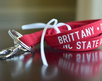 Custom Personalized Lanyard - Red, Six Font Choices - Perfect Athlete, Coach, Teacher Gift