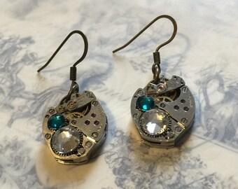 Emerald Steampunk Earrings, Watch Movement Earrings, Swarvoski Elements Earrings