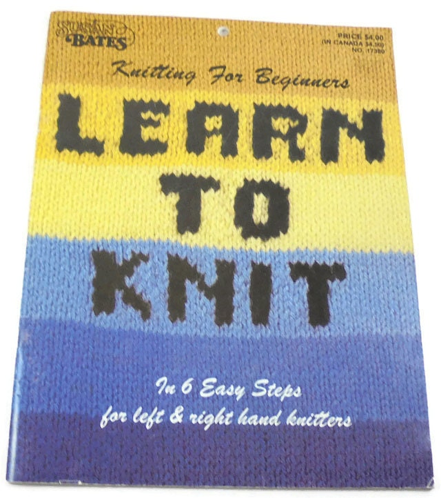 Knit Stitch For Left Handed Beginners : Vintage Learn to Knit by Susan Bates 6 Easy Steps for Left