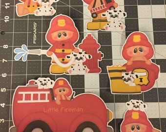 Scrapbooking Die Cuts- Fire Truck- Fireman- 6 piece set. Sizes can be adjusted upon request.
