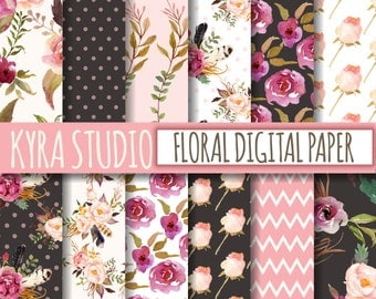 Floral Digital Paper Scrapbooking Shabby Chic Rose Pink Black Floral Flowers Leaves Polka Dot 12x12 Inches Printable papers 12 Sheets