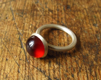 garnet cabochon and silver ring