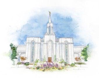Bountiful Temple Watercolor Print