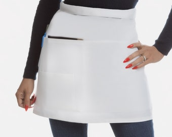 Available in Black Too!!!  Short White Waitress Apron- With Organizing Pockets - Quality Reinforced to Last!!!