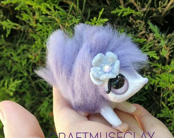 Purple hedgehog polymer clay and wool figure//fantasy//woodland//gifts for her//keepsake//collectible//Free US shipping code FREESHIPUS