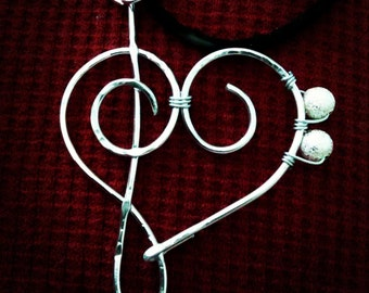 Treble clef bass clef heart necklace