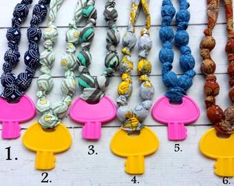 Nursing Necklace.Fabric Teething Necklace.Nursing necklace.