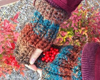 Ribbed Fingerless Gloves-Chunky Crochet Gloves; Women's Wrist Warmers