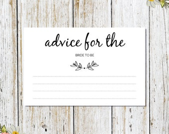 Advice for the Bride Card Printable