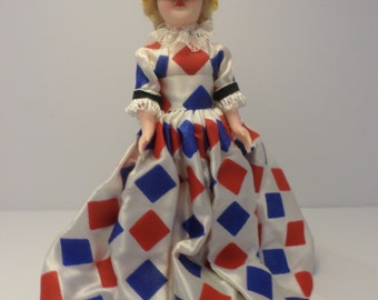 "8"" vintage 60's storybook doll Masquerade ball harlequin dress jester hat super cute on stand"