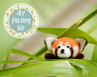 Needle Felting Kit DIY - Red Panda | Cute Needle Felted Animal | Easy Beginner Needle Felt Craft Kit|Perfect Gifts for Crafters|Amigurumi