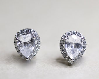 Sterling Silver Cubic Zirconia Pear Shaped Stud Earrings, studs