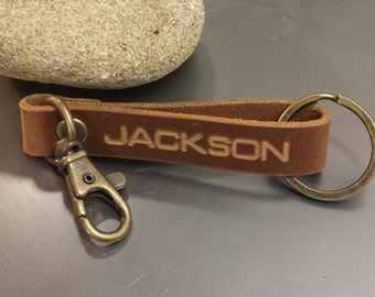 FREE SHIPPING-Personalized Leather Keychain,Genuine Leather Keychain,Leather Keychain,Personalized Keychain,Custom Keychain,Men's Accesories