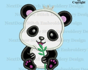 Panda bear embroidery applique design,  baby panda eating bamboo machine embroidery, br-002