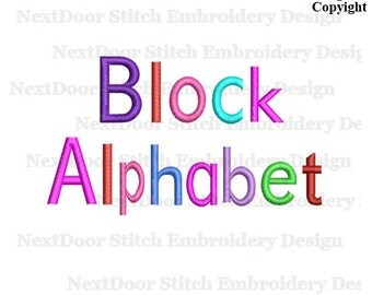 Block embroidery font, big small cap numbers,  BX files included , font-024b