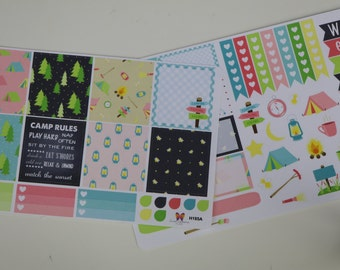 HORIZONTAL Camp Firefly Weekly Planner Sticker Set | H471AB