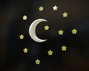 Simple Moon, DIY 3D paper Moon, printable DIY pdf template