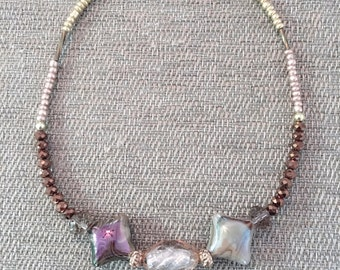Brown Glass Seed Bead Necklace