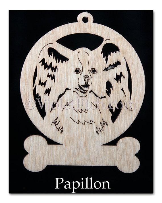 Laser Cut Ornament-Pet Ornament-Papillon Ornament-Wooden Papillon Ornament-Papillon Gift-Free Personalization