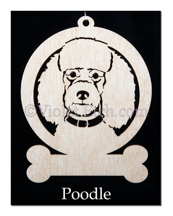 Poodle Ornament-Poodle Gift-Wood Poodle Ornament-Free Personalization