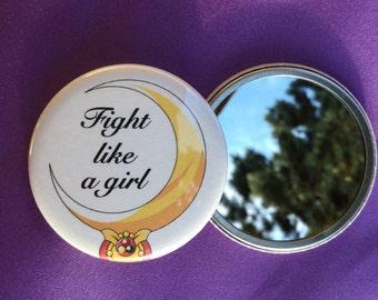 Fight like a girl pocket mirror / Feminist pocket mirror / Feminist accessory / Sailor moon accessory