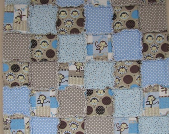 Handmade Baby Monkey Rag Quilt C-75