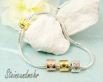 silver plated bracelet with 3 heart beads 20cm art. 1190