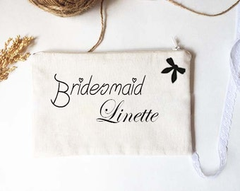 Personalized Bridesmaid Pouch / Bridal Shower Gifts / Set Bridesmaids Gift / Plain pouch / weddings clutches / Hessian Wedding