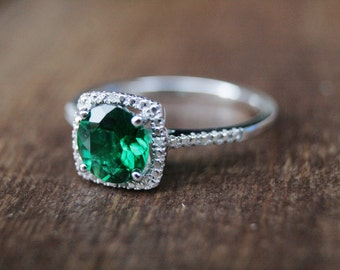 Emerald Ring, May Birthstone Ring, Silver birthstone ring, Silver Emerald Ring, May Birthstone