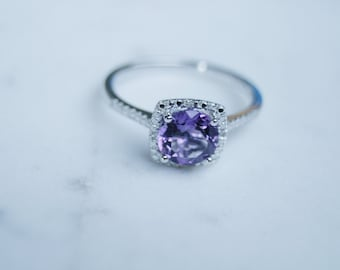 Amethyst Ring, February Birthstone, Birthstone Ring, Amethyst Purple Birthstone, Sterling Silver