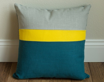 Linen Throw Pillow 16x16 Color Block gray, yellow and turquoise linen throw pillow cover
