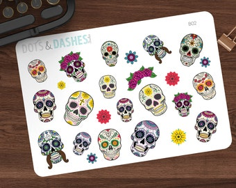 B02- Sugar Skull stickers, Sugar Skulls, skulls, Halloween, Halloween planner stickers, day of the dead, spooky sticker, scary, decorative