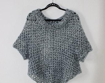 Very nice handmade crochet poncho with sleeves