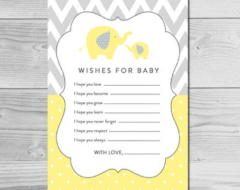 Yellow and Gray Elephant Baby Shower Activity - Wishes for Baby - Instant Download Printable - Gender Neutral
