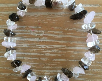 Amethyst, Clear quartz & Rose quartz crystal chip bracelet